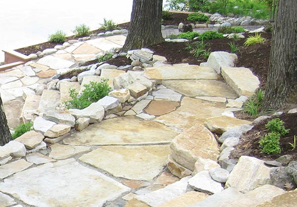 Natural stone walkway on lake