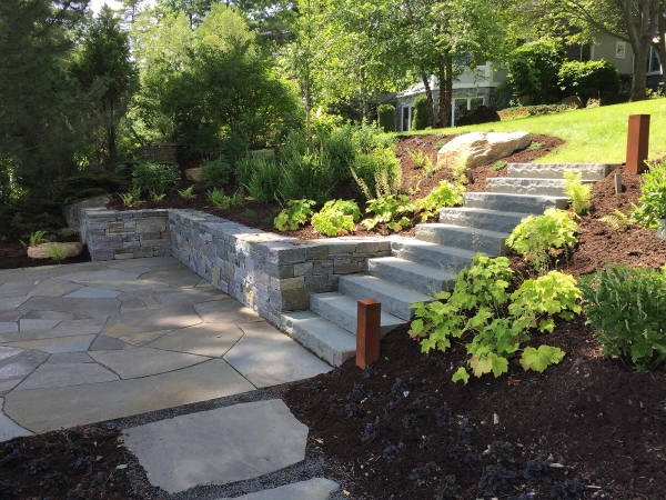 stone steps leading to stone patio