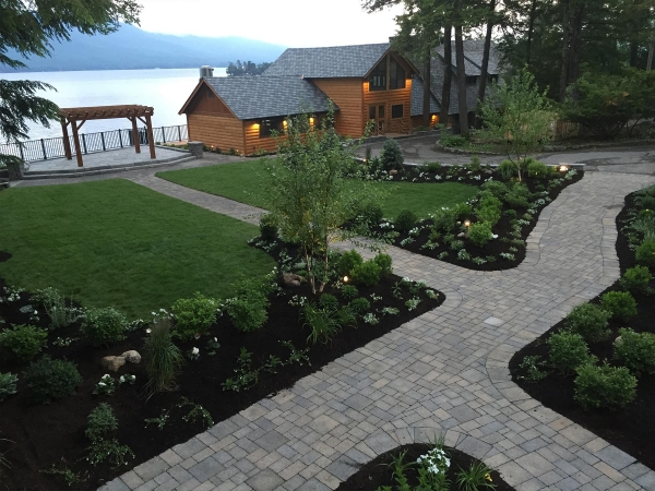 stone walkways with landscaping