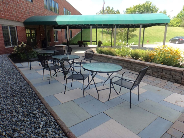 Patio area with square stones