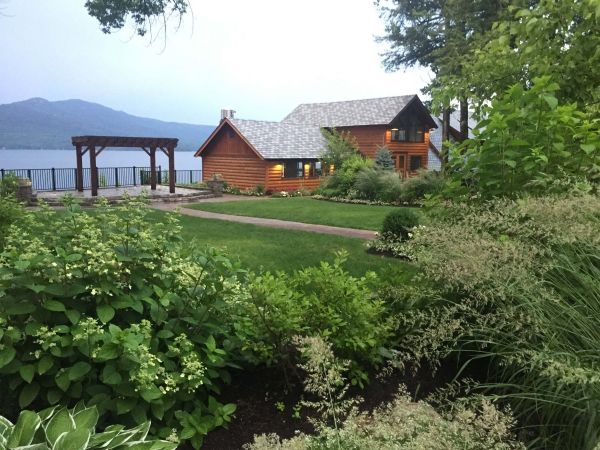 yard overlooking lake george