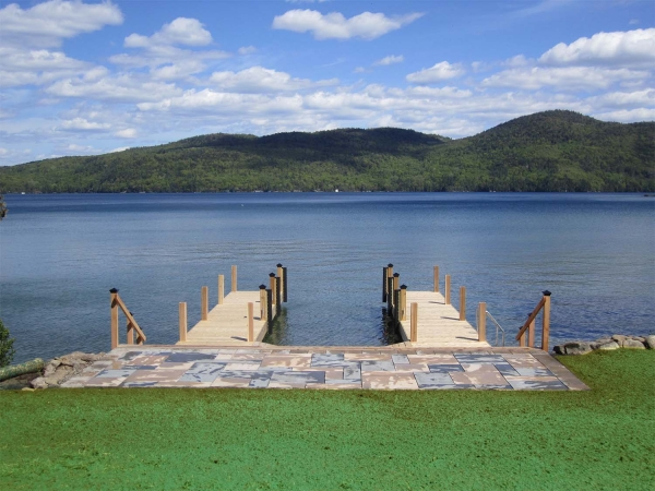 stone patio leading to 2 docks