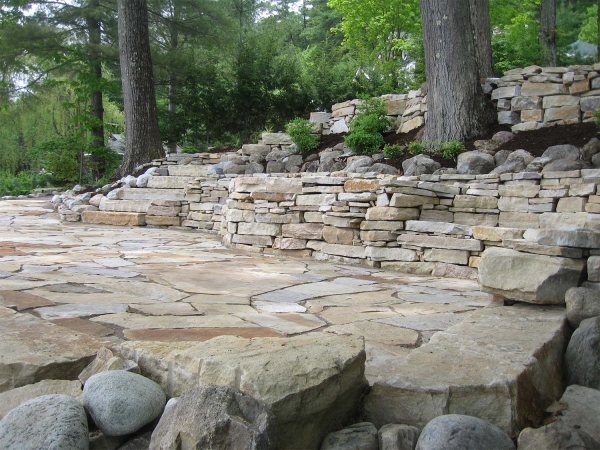 Stone patio, stairs and walls