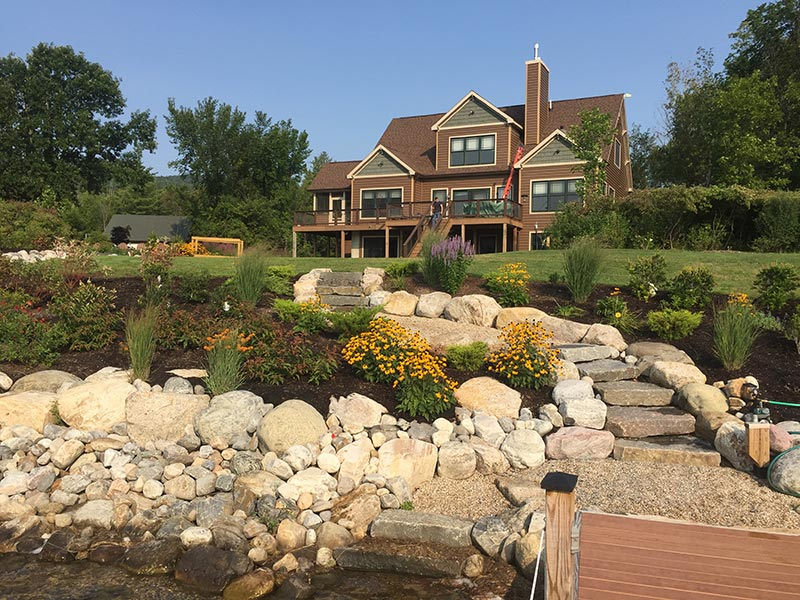 Lakefront Home with Shoreline Buffer Made of Native Plants & Stone