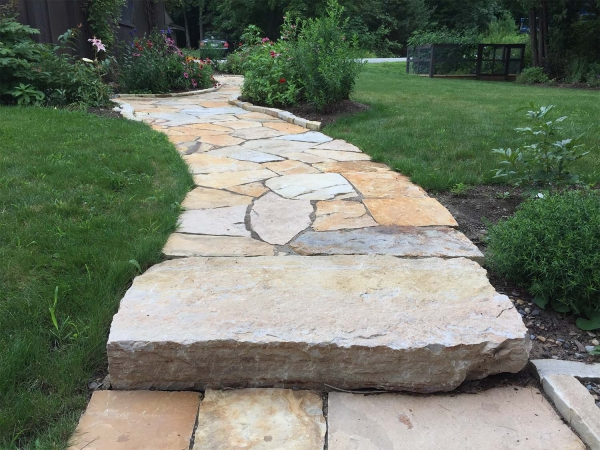 Stone step and walkway