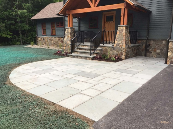Square pavers used for entrance to house