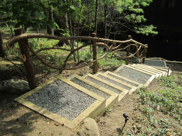 Wood and gravel steps