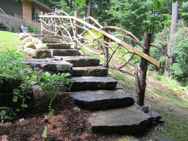 Stone stairs with wood railing