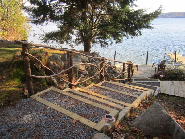 Stairs down to dock on lake