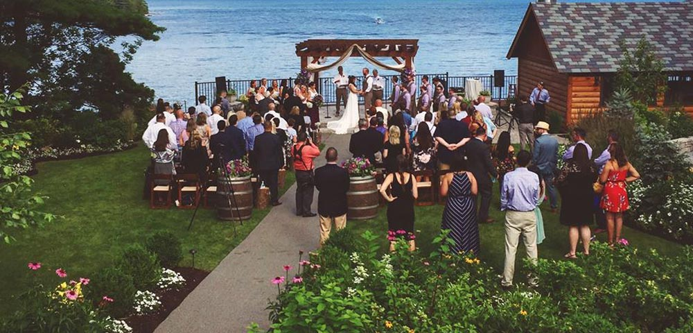 Outdoor Wedding Ceremony overlooking lake