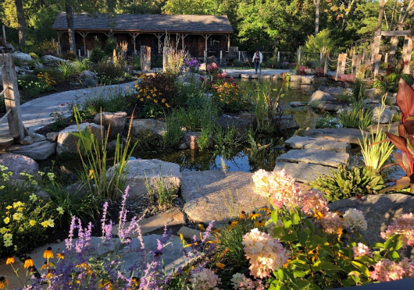 outdoor man made water feature with large rocks and flowers